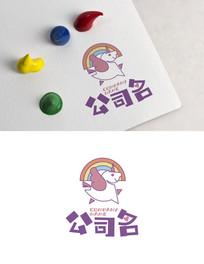 儿童卡通动物彩虹logo AI