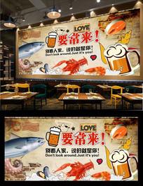 海鲜美食背景墙