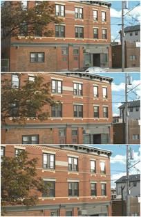 红楼红砖结构老房子电线杆视频