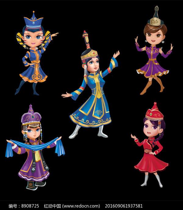 蒙古卡通女孩素材图片