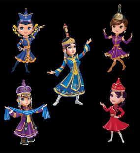 蒙古卡通女孩素材