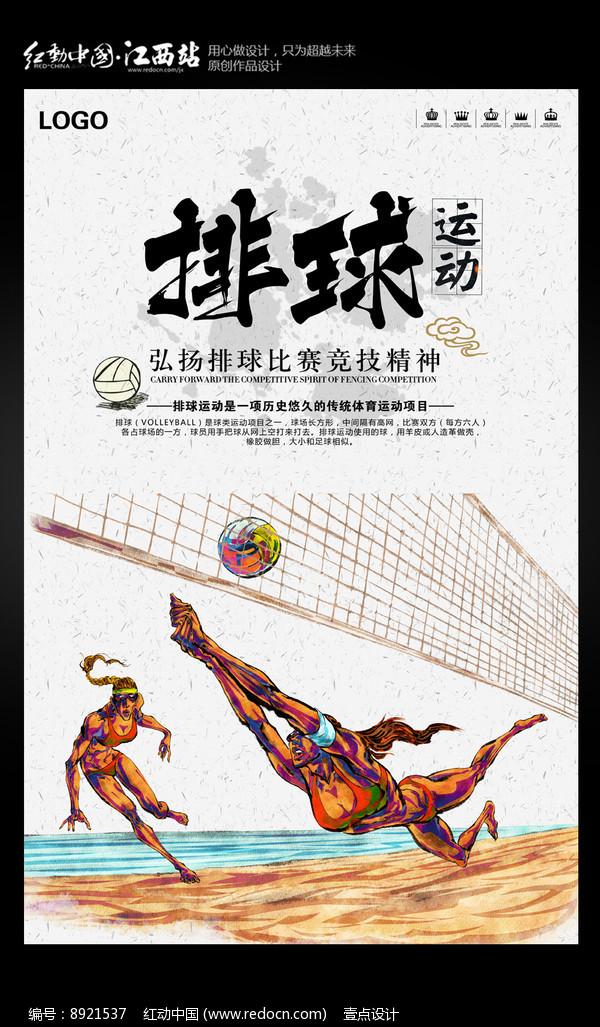 体育排球运动海报