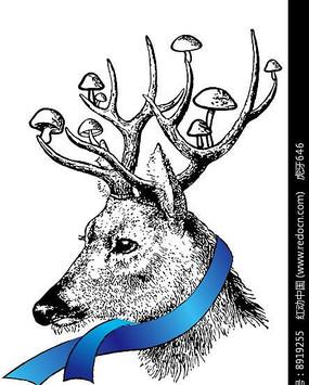 黑白手绘的鹿插画 PSD
