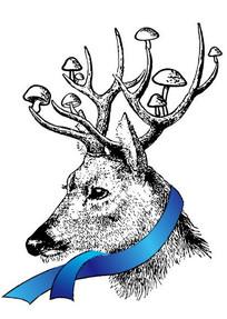 黑白手绘的鹿插画