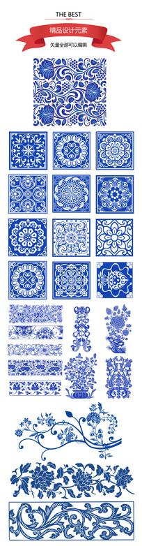 青花瓷花纹元素