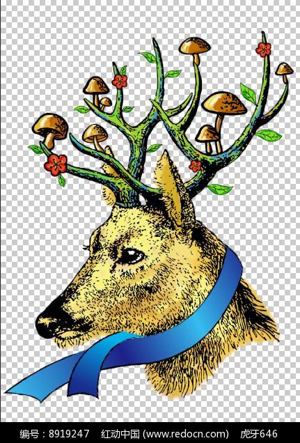 手绘的鹿插画图片