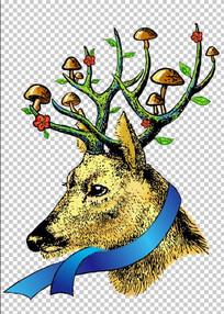 手绘的鹿插画 PSD