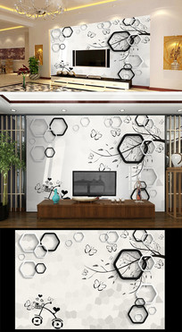 3D树枝六边形蝴蝶背景墙