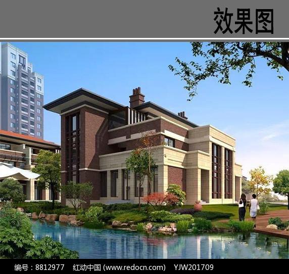 别墅住宅区滨水效果图图片