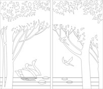 抽象白桦树雕刻图案 CDR