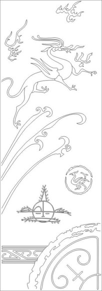 抽象龙雕刻图案 CDR