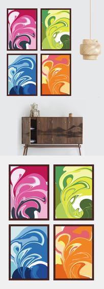 抽象色彩艺术装饰画四联
