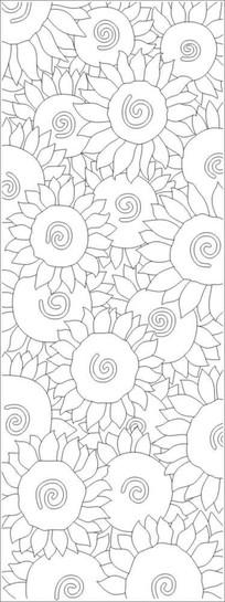 抽象太阳花雕刻图案 CDR