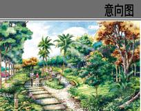带状公园手绘意向图 JPG
