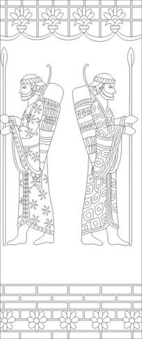 古人物雕刻图案 CDR