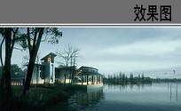 河边仿古建筑阴天效果图
