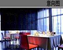 红黑风酒店小方桌意向