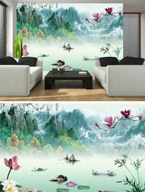 家和富贵牡丹中式电视背景墙