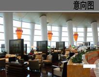 经典酒店中餐厅大厅意向