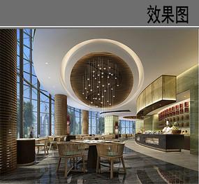 酒店全日制餐厅四人座效果图