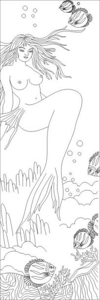 美人鱼雕刻图案 CDR