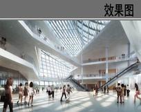 室内透明扶梯商业建筑效果图 PSD