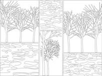 树枝雕刻图案 CDR