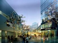 透明玻璃商业街建筑效果图 PSD