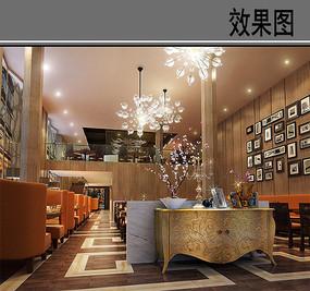 艺术茶餐厅一层效果图
