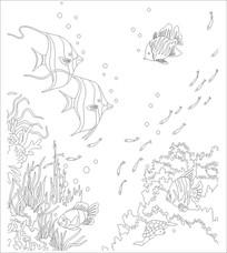游鱼雕刻图案 CDR