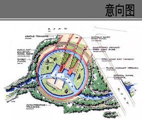 圆形湿地公园景观节点平面图