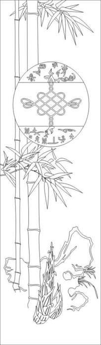 竹子中国结雕刻图案