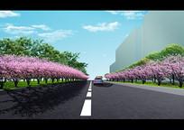 办公楼道路绿化效果图