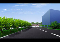 办公区绿化道路效果图