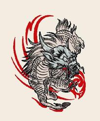 奔跑霸气的龙马图案插画