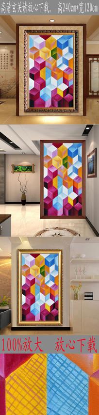 高清抽象立体几何体油画玄关