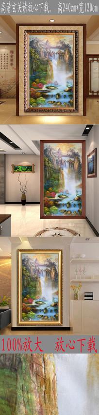 高清抽象山水风景油画玄关