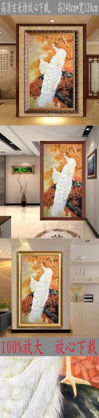 高清立体手绘白孔雀油画玄关图