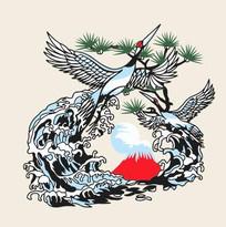 浪上飞翔的鹤插画 CDR