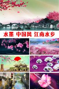水墨梅花中国风江南水乡视频