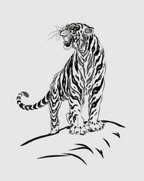 威武简单的矢量图老虎插画