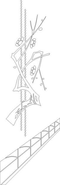梅花树雕刻图案 CDR
