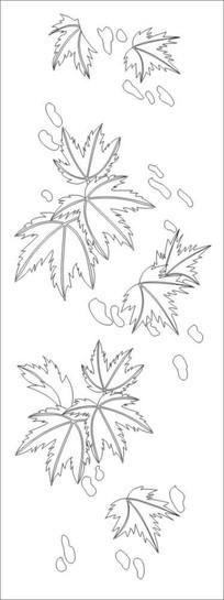 秋之叶雕刻图案 CDR