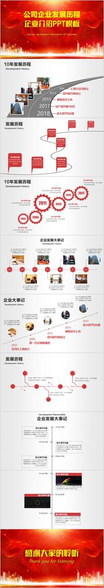 企业发展历程红色PPT