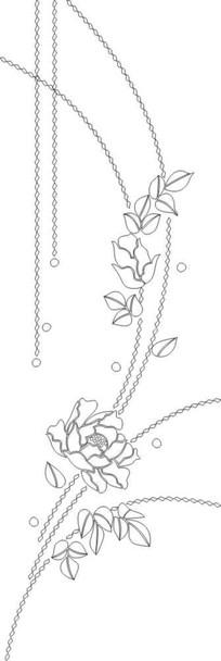 双线牡丹花雕刻图案