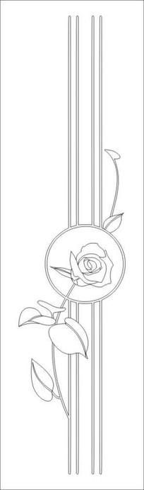一枝独秀玫瑰花雕刻图案