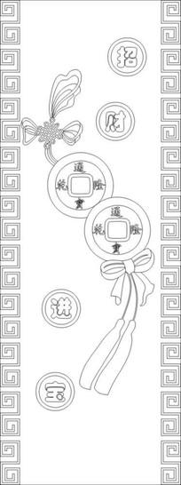 招财进宝中国结雕刻图案