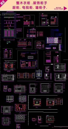 家装CAD整木定制施工图cad制图室内外图片