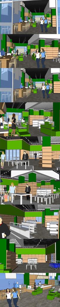超市便利店室内设计SU模型