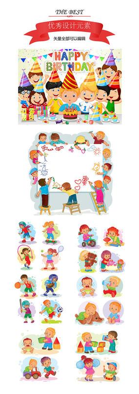儿童生活与运动插画素材